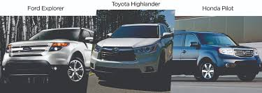 lexus vs honda pilot the 2014 toyota highlander vs the ford explorer and honda pilot