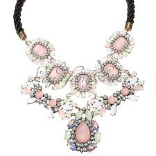 pink flower collar necklace images Rhinestone bib crystal crew pink flower statement collar necklace jpg
