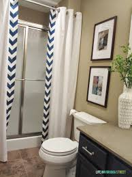 Bathroom Curtain Ideas Pinterest by Guest Bathroom No Sew Shower Curtain Tutorial Mondays Curtain