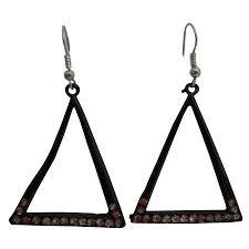 triangle earrings dangling chandelier black triangle earrings w cz