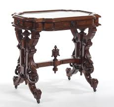 victorian marble top end table american victorian marble top table in walnut probably by thomas