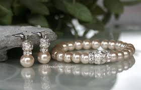 glass pearl bracelet images Handmade creamy champagne swarovski glass pearl earrings and jpg