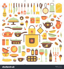 set kitchen utensils food isolated objects stock vector 235742626