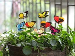 ginsco 25pcs butterfly stakes outdoor yard planter flower pot bed