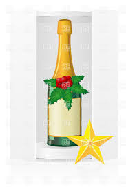 champagne clipart packing box with champagne bottle and christmas decoration vector