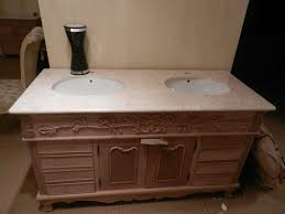 double bowl sink vanity unit with solid marble top