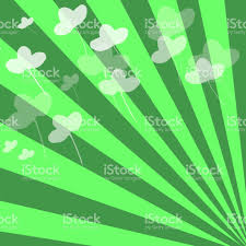 happy green color patrick background clover leaves on stripes of bright happy green