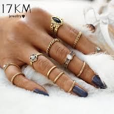 ring set 17km 12pcs set fashion vintage midi rings set 2017 antique