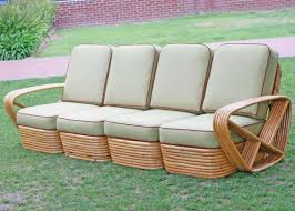 Rattan Two Seater Sofa Square Pretzel Rattan Four Seat Sectional Sofa By Paul Frankl At
