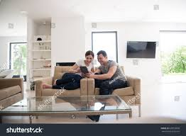 Young Couple Room Young Couple Relaxing Luxurious Home Tablet Stock Photo 628753058