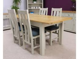 Oak Dining Table Uk Two Tone Grey Painted Oak Extending Dining Table U0026 Chairs
