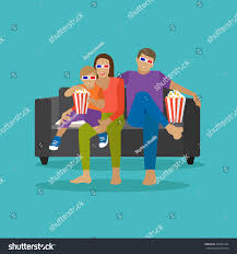home movie in theaters family eating popcorn watching movie home stock vector 448351084