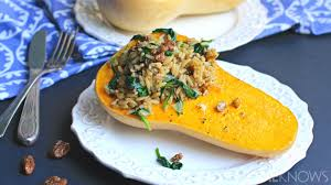 butternut squash recipe for thanksgiving vegan brown rice and spinach stuffed butternut squash