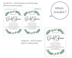 woodland greenery bridal shower invitation template instant download