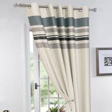Cream Blackout Curtains Eyelet by Striped Ring Top Lined Pair Eyelet Ready Made Thermal Blackout