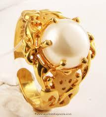 golden rings designs images Gold pearl ring design from senthil murugan jewellers gold pearl jpg