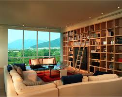 Rolling Bookcase Ladder by Contemporary Spacious Country Club Apartment By Jerry Jacobs Design