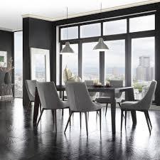 sasha mid century grey fabric upholstered tapered leg dining