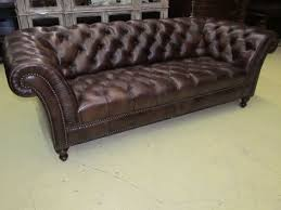 charleston leather sofa henredon leather company button tufted brown hand rubbed leather