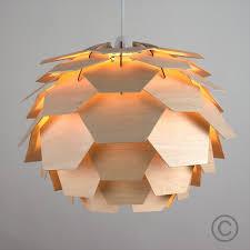 modern designer style layered wood artichoke ceiling pendant light
