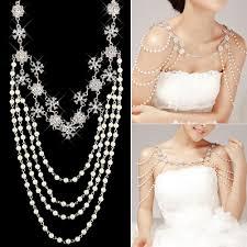 pearl necklace wedding dress images Wedding bridal crystal rhinestone pearl shoulder body chain jpg