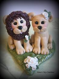 lion cake topper wedding cake topper lion and lioness custom lion polymer clay
