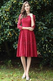 edressit long sleeves red lace cocktail party dress 26170217