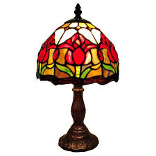 tiffany mission style table ls amora lighting 14 in tiffany style tulips table l am117tl08