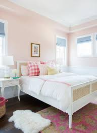 pink bedroom with bone inlay nightstands transitional