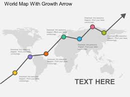 world map with growth arrow powerpoint template powerpoint templates