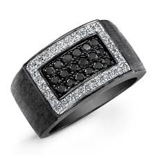 mens black engagement rings black sterling silver black and white mens ring