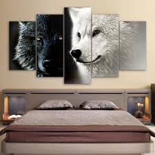 bakeryworldstyle bakeryworldstyle brand you can trust hd printed 5 piece canvas art abstract black white wolf couple painting wall pictures