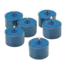 Tea Light Candles Light In The Dark Navy Unscented Tealight Candles With Clear Cups