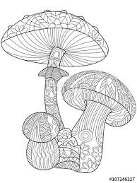 201 colouring mushrooms toadstools zentangles