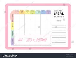 weekly meal planner insert template menu stock vector 499293358