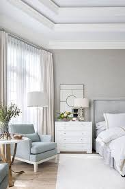 gray bedroom with octagon tray ceiling transitional bedroom