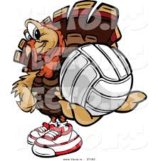 vector of a cartoon turkey mascot holding out a volleyball by