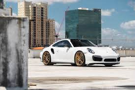 porsche white 911 white porsche 911 turbo with gold velos designwerks wheels 2