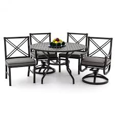Swivel Rocker Patio Dining Sets Audubon 5 Aluminum Patio Dining Set With 2 Swivel Rockers 2