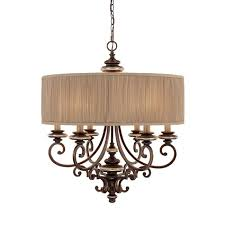 Drum Shade Chandelier Lighting Six Light Champagne Bronze Drum Shade Chandelier 3885cz 446