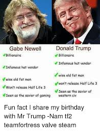 Gabe Newell Memes - donald trump gabe newell billionaire billionaire e infamous hat