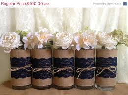 burlap decorations for wedding 3 day sale 5 navy blue burlap and lace covered glass vase wedding
