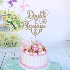 baby shower cake topper double blessings cake topper twins