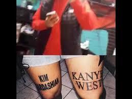man gets kim kardashian and kanye west tattoos on his legs