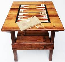 reclaimed wood game table backgammon game wood table indoor outdoor patio or garden