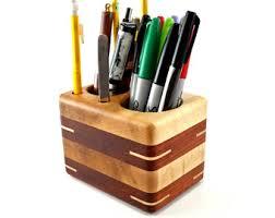 Desk Pencil Holder Wooden Pencil Holder Etsy