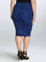 Blue Leopard Print Torrid U0027s Blue Leopard Print Midi Skirt