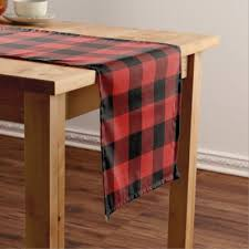buffalo check table runner rustic faux burlap and red moroccan quatrefoil short table runner