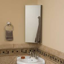 rectangle corner mirror and white sink also round steel towel hook