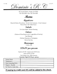 party menu dominic u0027s italian restaurant